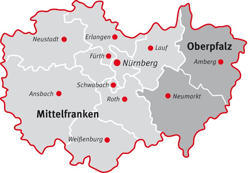 Landkreise Mittelfranken Karte.Zentrum Fur Horgeschadigte Nurnberg